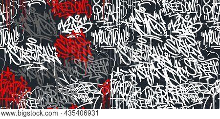 Two Dark Seamless Abstract Hip Hop Street Art Graffiti Style Urban