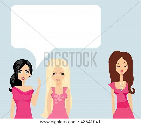 Envious Two Women Gossip About Their Friend