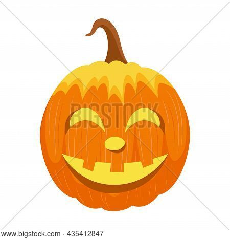 Halloween Glowing Pumpkin Carved Isolated. Vector Illustration.
