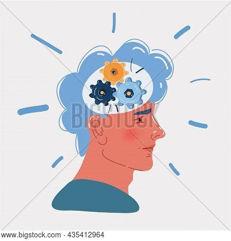 Vector Illustration Of Human Head Gears Tech. Cogwheel Engineering Technological Inside Brain Work C