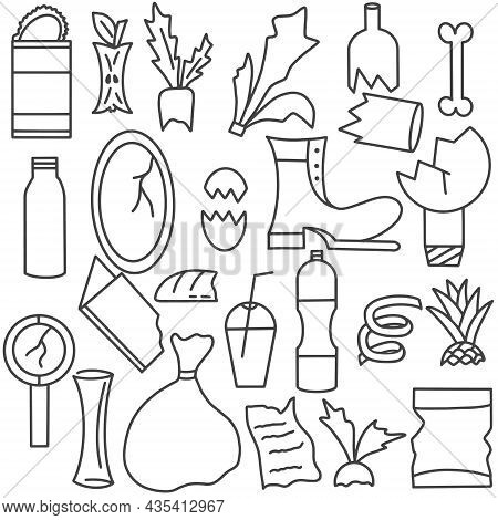 Household Waste Doodle Collection Vector Illustration. Set Of Organic And Inorganic Household Waste,
