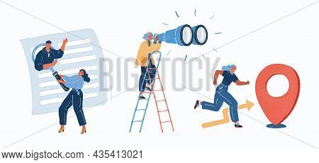 Vector Illustration Of People Looking And Focus On Problem To Find Solution, Successful Business Goa