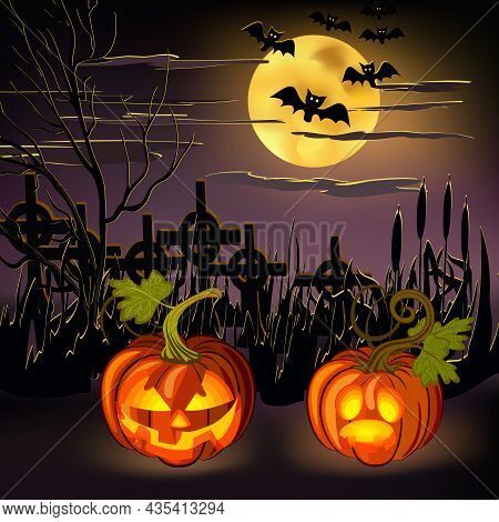 Vector Illustration For Halloween.scary Pumpkins, Bats And The Moon On A Colored Background In Vecto