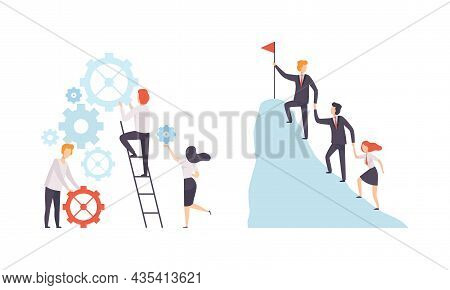 Office Colleague Working Together Spinning Gear And Climbing Mountain Top Vector Set