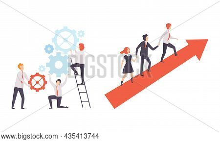 Office Colleague Working Together Spinning Gear And Climbing Arrow Vector Set