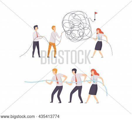 Office Colleague Working Together Solving Tangle And Pulling Rope Vector Set