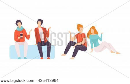 Male And Female Friend Spending Time Together Sitting And Gossiping Vector Set