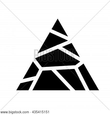Dryness Icon. Crack In The Ground. Broken Triangular Surface. The Shattered Fragments. Abstract Symb