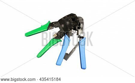 Photo Crimping Tools. This Tool Is A Tool That Resembles Pliers For Cutting Lan Cables Or Internet C