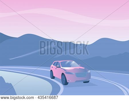 A Passenger Car Is Driving Along The Highway, A Mountain Landscape. A Car On An Empty Road. Vector I