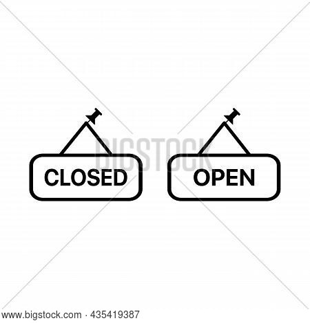 Open And Closed Plates, Boards With Pin Set Icon . Simple Thin Outline. Shop, Hotel Door Or Window L