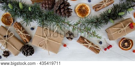 Christmas Composition. Christmas Gifts, Pine Cones, Christmas Decorations. Eco Decorations.