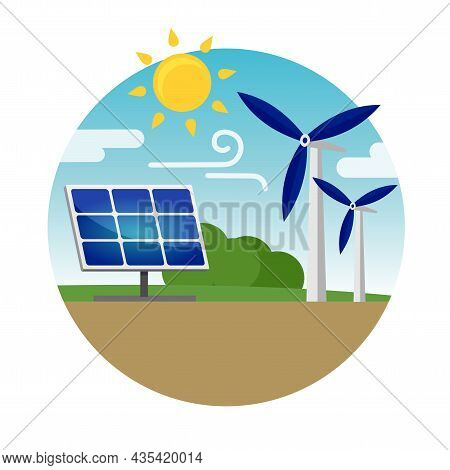 Clean Alternative Energy From Renewable Solar And Wind Sources. Solar Panels And Wind Turbines. Vect