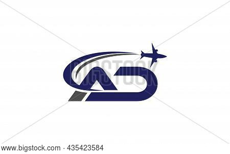 Simple And Modern Airplane Logo Design For Airlines, Airline Tickets, Travel Agencies With Ad Letter