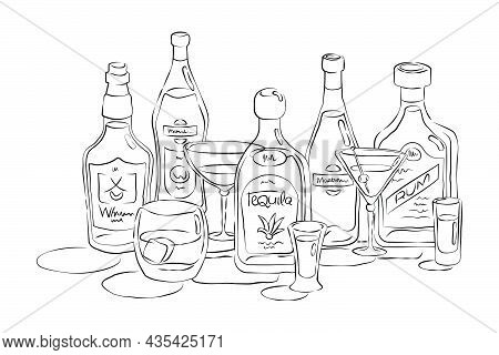 Bottle And Glass Whiskey Vermouth Tequila Martini Rum Together In Hand Drawn Style. Beverage Outline
