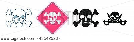 Human Skull In Full Face View And Crossbones On White Background. Four Kinds Isolated Illustration I