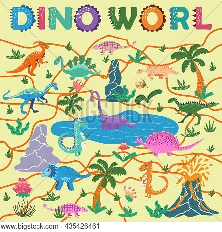 Dinosaurs World Poster. Cartoon Dinosaurs And Hand Lettering. T-rex, Tyrannosaurus, Pterosaur, Ptero