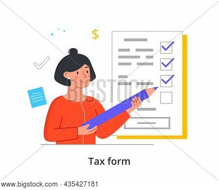 Tax Form Concept. Woman Fills Out List With Paid Bills. Entrepreneur Or Employee Gives State Percent