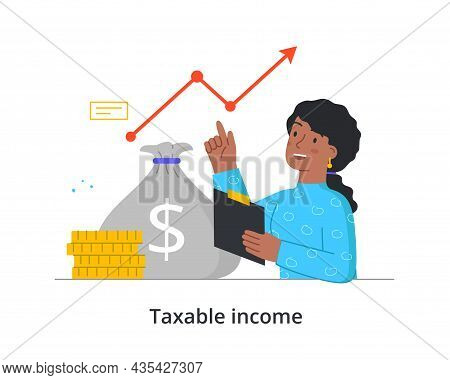 Taxation Of Income Concept. Woman Holds Documents In Her Hands And Analyzes Financial Growth. Paymen