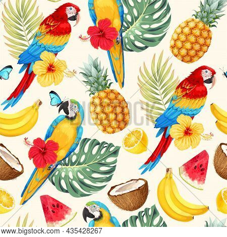 Vector Seamless Pattern With Macaw And Palm Leaves