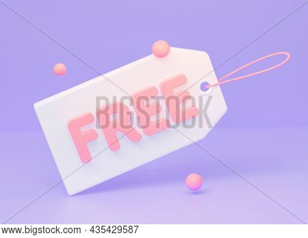 Price Tag Label An Inscription Free On Purple Background. 3d Rendering Illustration