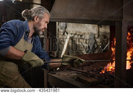 Mature Bearded Worker Putting The Coals Into The Furnace During His Work In Blacksmith Shop
