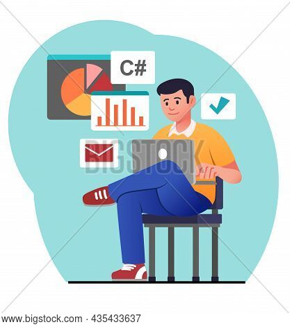 Programmer Working On Chair. Man Writes Code, Developing Applications, Working On New Programs. Free