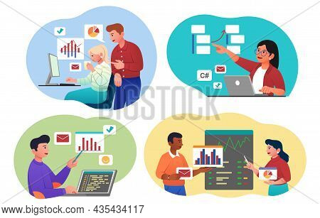 Working With Data Set. Collection Of Images Used By Analysts To Evaluate Graphs And Charts. Investme