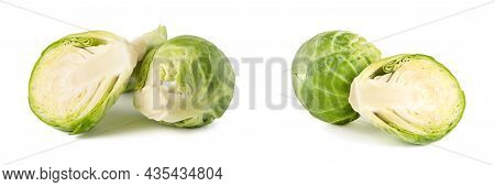 Brussels Sprouts. Large Set Of Fresh Brussels Sprouts In Stacks On A White Isolated Background. Deep