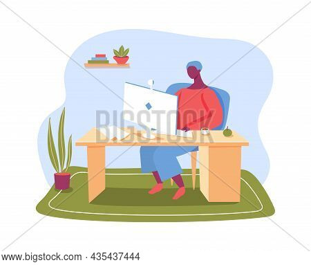 Freelance Worker Work From Home, Remotely Job. Vector Freelance Worker At Workplace, Remote Online E