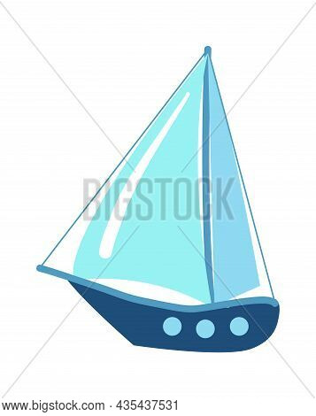 Marine Yacht With Sail Isolated On White Background. Sail Yacht, Ship And Nautical Vessel To Journey