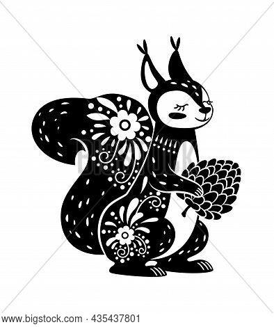 Squirrel Animal Drawn In Boho Style Black. Vector Black Squirrel Boho Illustration, Drawing Cartoon