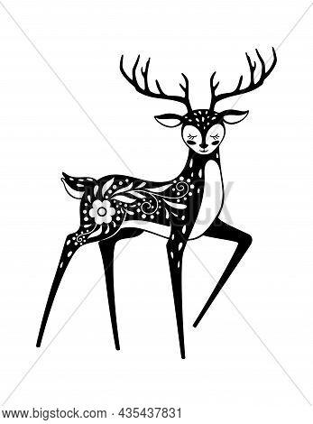 Sacred Animal, Noble Deer In White Black. Vector Animal Deer Symbol, Wild Tattoo And Wildlife Art, N