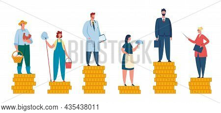 Salary Difference, Wage Gap Between Rich And Poor. People With Different Incomes, Professional Incom
