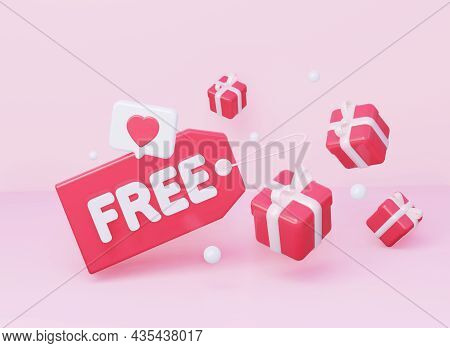 A Bright Pink Price Tag With The Inscription Free. And A Notification Icon Such As A Heart. The Conc