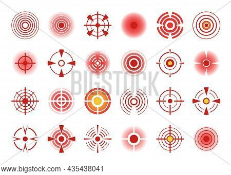 Red Pain Circle Icon, Body Painful Spots. Hurting Joints Or Muscles Indication Symbol, Pains Point S