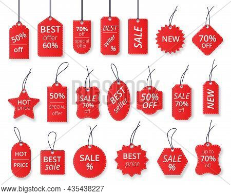 Realistic Red Sale Labels, Discount Price Tags Mockups. Paper Gift Label With Rope, Promotional Sale