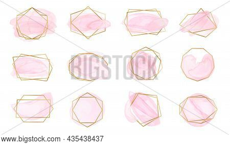 Pink Watercolor Brush Strokes With Geometric Gold Frames. Pastel Rose Labels With Abstract Polygonal