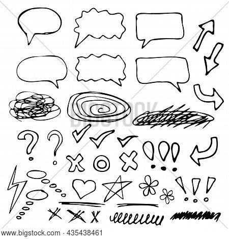 Doodle Set, Black Lines, Arrows, Star, Heart, Question Mark, Exclamation Mark, Strikethrough Suitabl
