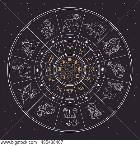 Horoscope Astrology Circle With Zodiac Signs And Constellations. Gemini, Cancer, Lion, Mystic Zodiac