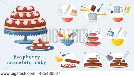 Cake Recipe, Baking Dessert Step By Step Instruction. Delicious Birthday Chocolate Cake With Cream,