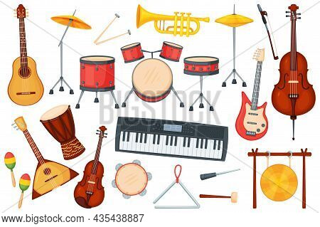 Cartoon Music Instruments For Orchestra Or Jazz Performance. Drums, Electric Guitar, Trumpet, Piano,