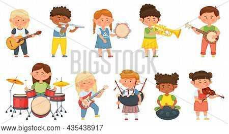 Kids Playing Musical Instruments, Children Orchestra Music Hobby. Cute Boys And Girls Musicians Play