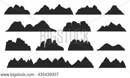 Black Mountain Ridge Landscape Silhouette, Rocky Terrain Elements. Mountains Peaks, Hills, Icebergs