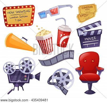Cartoon Cinema Elements, Movie Theater Tickets, Popcorn. Camera, Clapper Board, 3d Glasses, Film Tap
