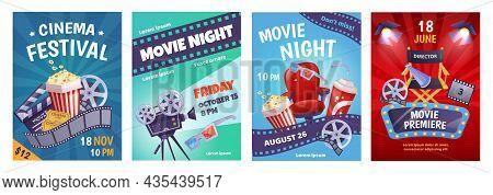 Cartoon Cinema Poster Template, Film Festival Invitation. Movie Night Event Posters With Popcorn, So