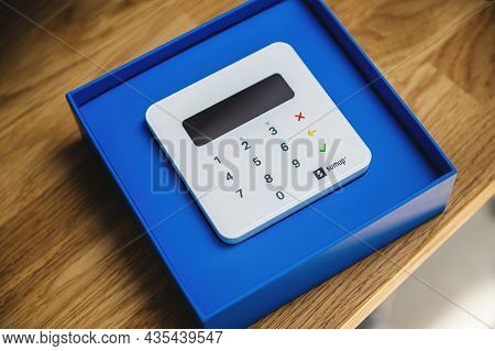 Paris, France - Sep 8, 2021: Hero Object Of New Sumup Emv Card Reader Which Can Read Magnetic Strip,