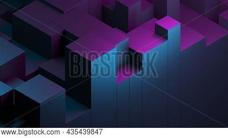Abstract Blue Purple Digital Data Background 3d Render Polygon. Abstract Techno Purple Geometric Tec