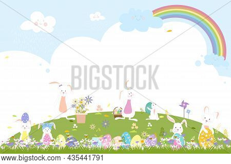 Spring Field With Bunny Hunting Easter Eggs,vector Cute Cartoon Rabbits Playing In Green Grass Field
