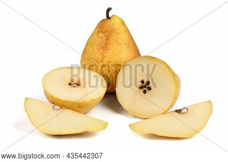 Pears Isolated On White Background. Pears Macro Studio Photo. High Resolution Photo. Full Depth Of F